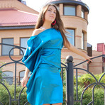 english: Коктельное бирюзовое платье.